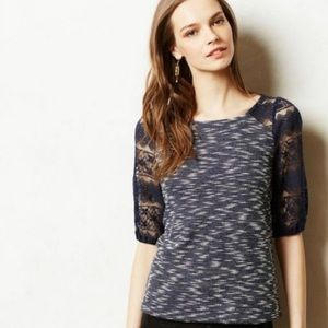 Anthropologie Patel Lace Sleeve Top